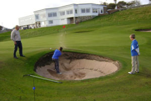 Brora Golf Club Juniors at the 18th bunker