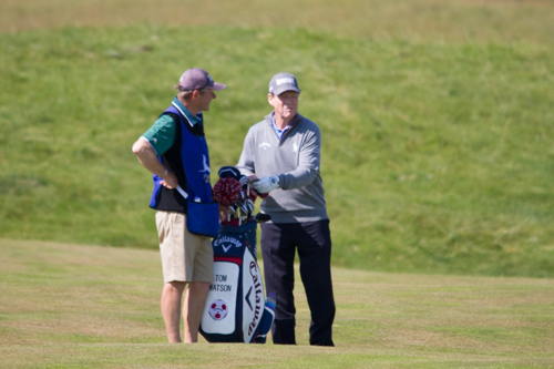 Tom Watson on 17th hole with local caddie Ronnie Sim