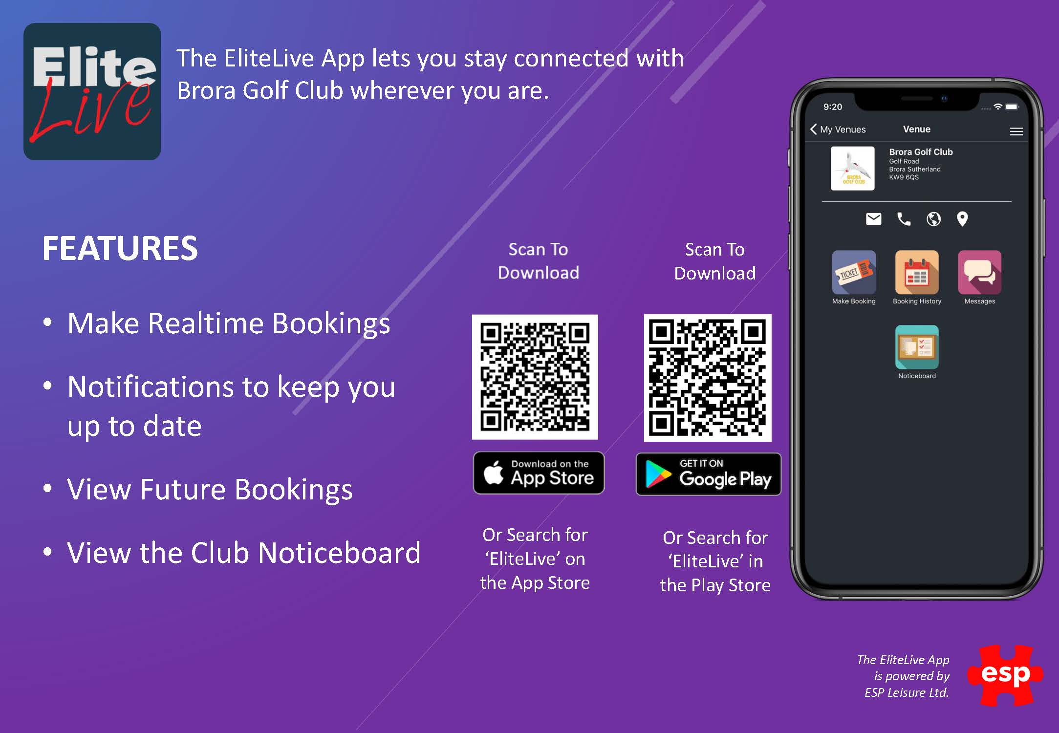 EliteLive App Adoption Flyer Brora